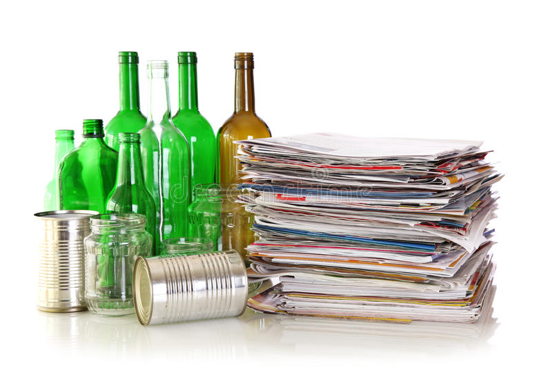 Download Glass Bottles, Metal Cans And Newspapers Stock Photo - Image: 16673060