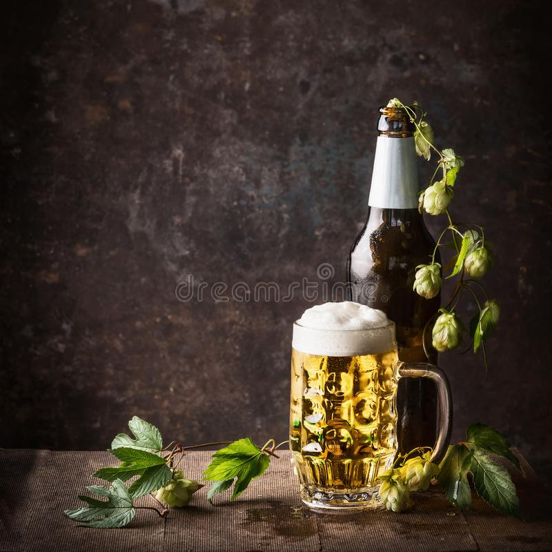 Glass bottles and mug of beer with cap of foam and hops on table at dark rustic background, front view, Still life. Close up royalty free stock image