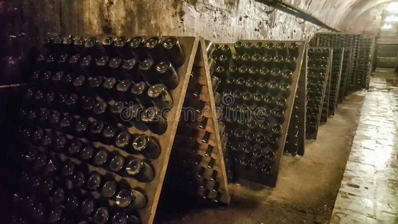 Glass bottles with wine stand on wooden shelves. Wine collection in a wine cellar stock photo