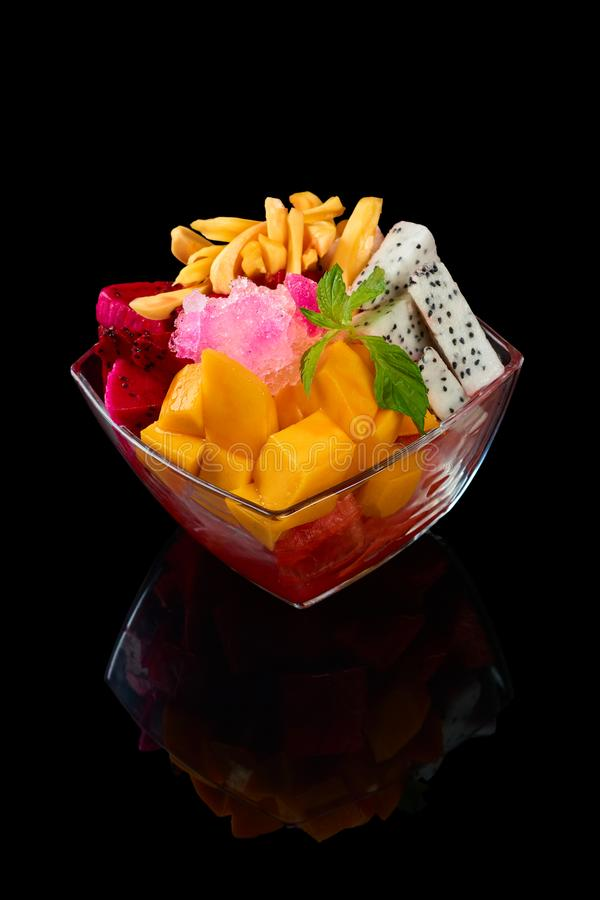 Glass bowl of fruit salad royalty free stock images
