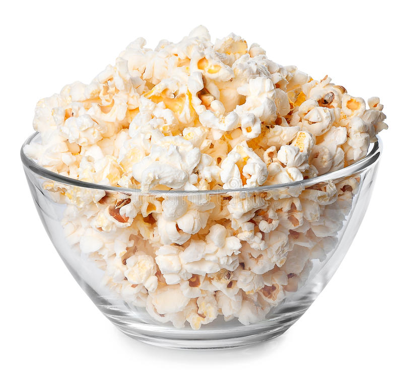Glass bowl with popcorn on white background royalty free stock photo