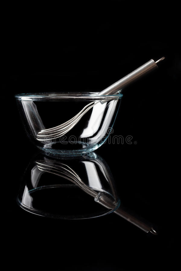 Glass bowl with whisker inside side view with reflection vertical stock photos