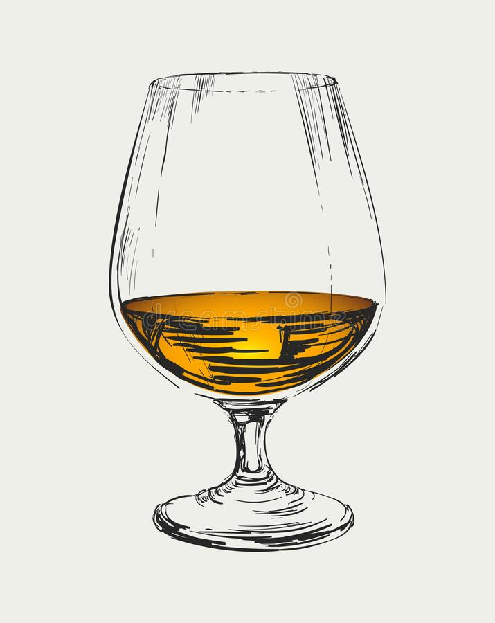 Glass of Brandy Vector Drawing Illustration.  stock illustration