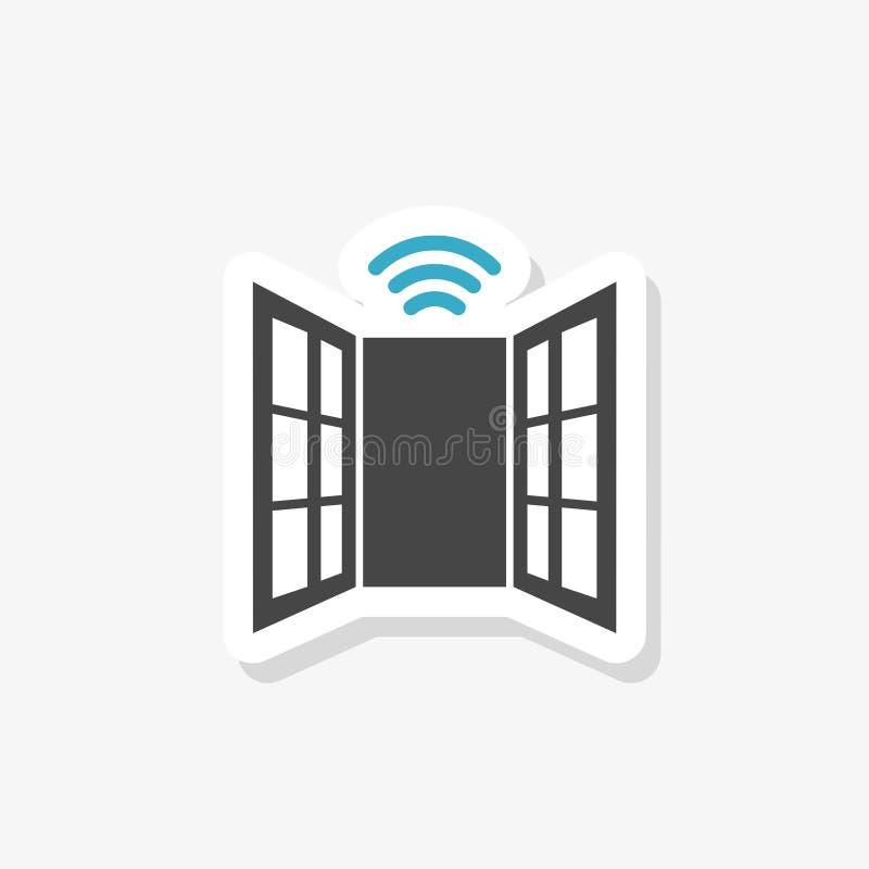 Glass break sensor sticker. Clipart image isolated on white background. Paper sticker vector illustration