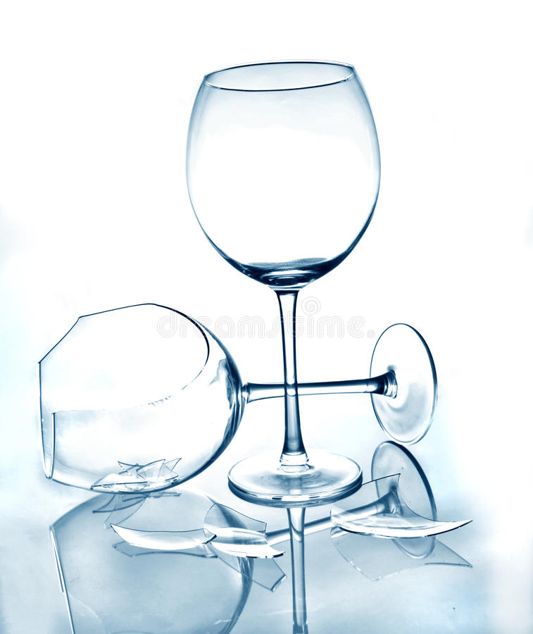 Glass and broken glass stock image