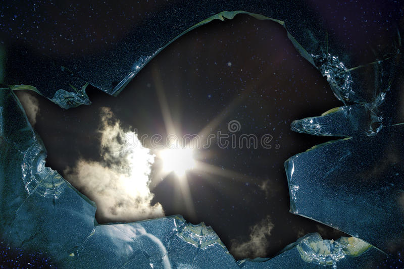 Glass broken hole star royalty free stock images