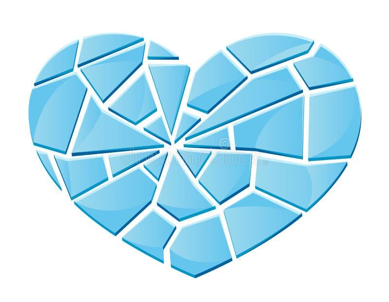 Glass bruten hjärta stock illustrationer