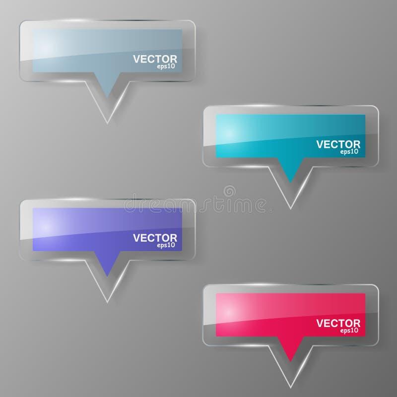 Glass bubblaanförandeuppsättning också vektor för coreldrawillustration stock illustrationer