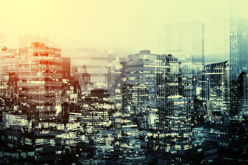 Glass building pattern, double exposure for abstract background. royalty free stock photos
