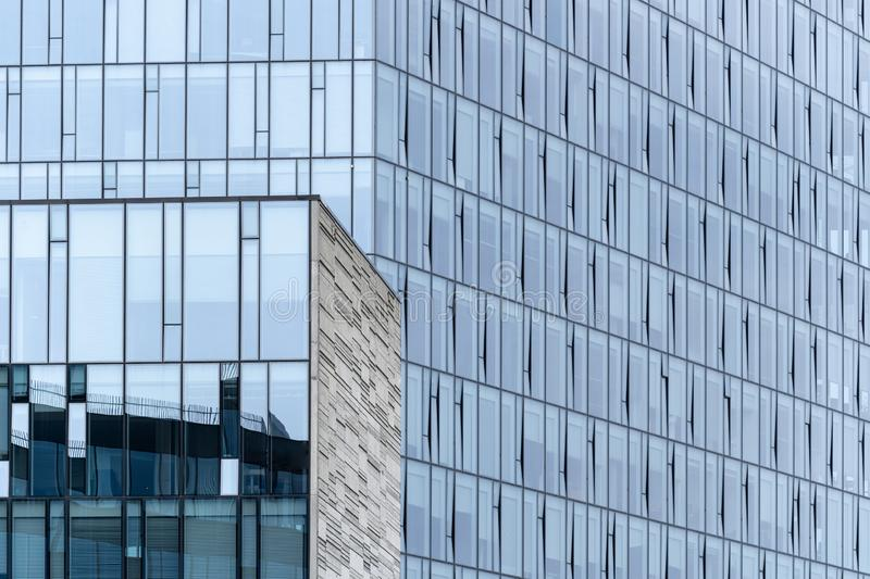 Glass building with reflection on clean window stock images