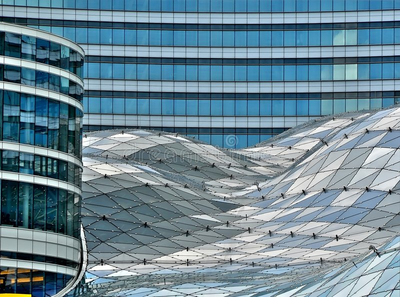 Glass building in Warsaw stock images