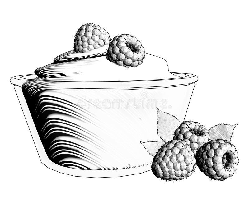Glass bunke av den vita yoghurten med hallon som isoleras på vita lodisar royaltyfri illustrationer