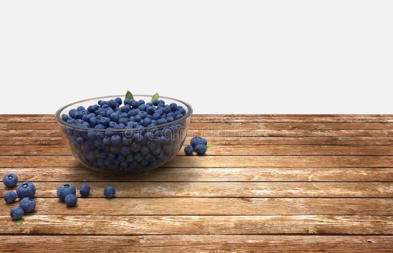Glass bunke mycket av blåbär på trätabellen arkivbild