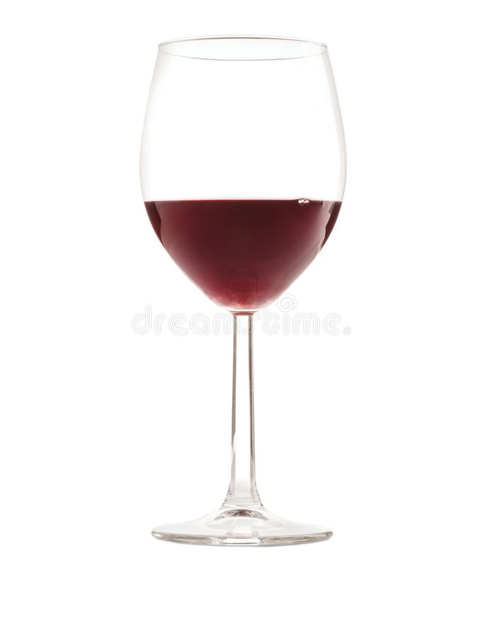 A glass of burgundy wine on a white isolated background. Glass of glass burgundy wine close-up on white isolated background. Side view stock photos