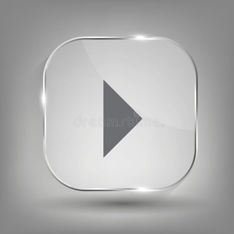 Glass button media icon.  Vector illustration royalty free illustration