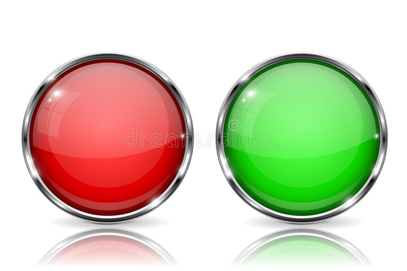 Glass buttons. Red and green round 3d buttons with metal frame. With reflection on white background royalty free illustration