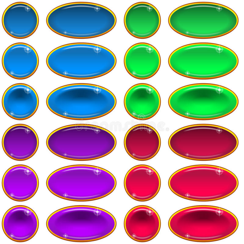 Glass Buttons, Set royalty free illustration