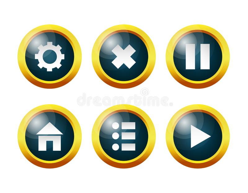 Glass buttons: settings, menu, home, pause, continue, exit the game. royalty free illustration