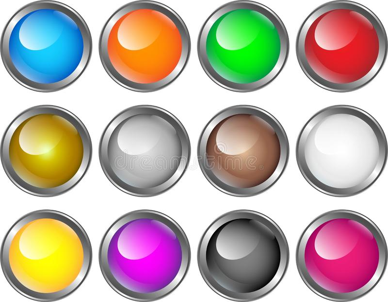 Glass buttons for webdesign in different colors vector illustration