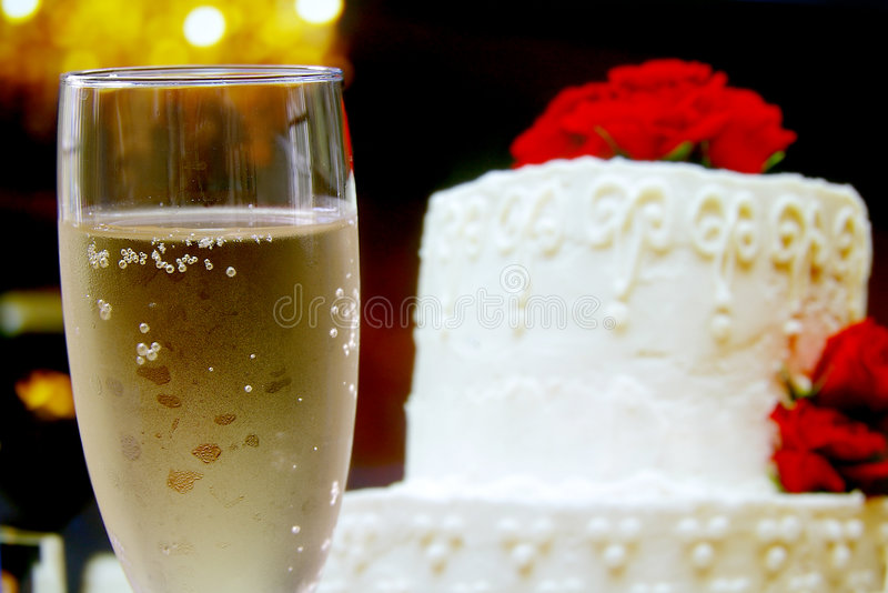 Glass and cake royalty free stock photo