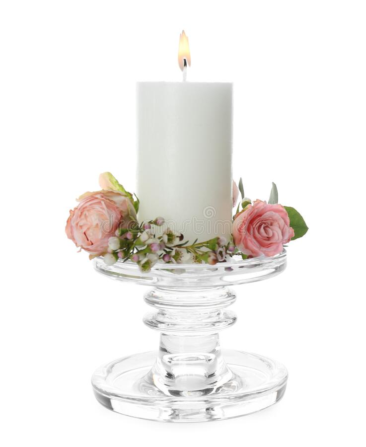 Free Glass Candlestick With Burning Candle And Floral Decor Isolated On White Royalty Free Stock Photos - 215598398