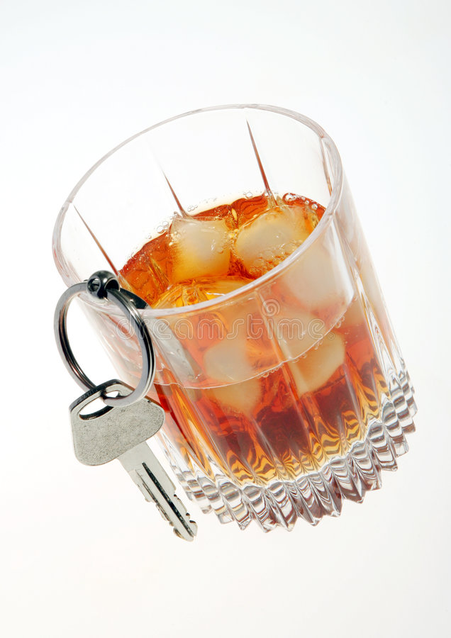 Glass car key drink drive royalty free stock images