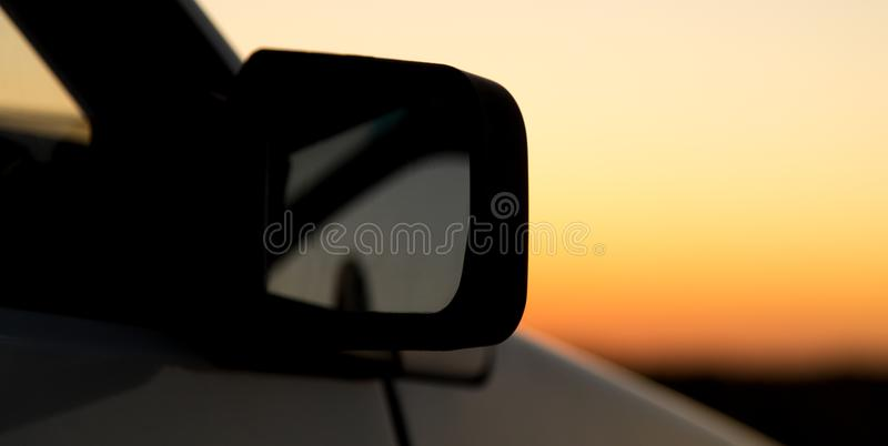 Glass from the car in the sun at dawn stock image