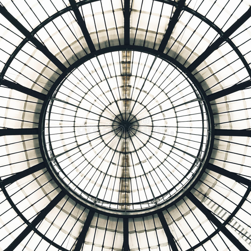 Glass Ceiling Dome pattern, Milan, Italy. Glass Ceiling Dome pattern detail, Vittorio Emanuele II historical architectural Gallery interior, Milan Italy Europe royalty free stock photo