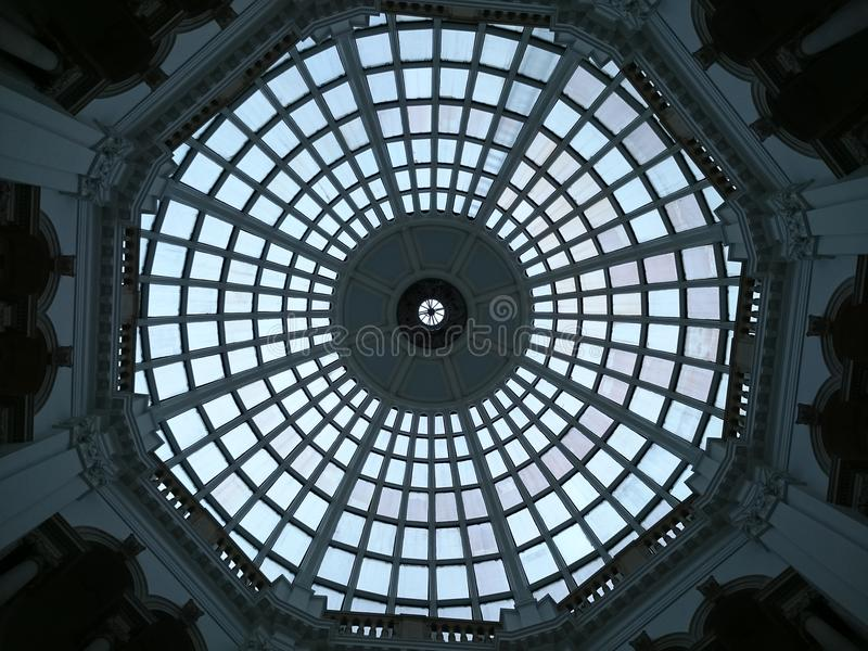 Glass ceiling dome. Photographed upeards royalty free stock photos