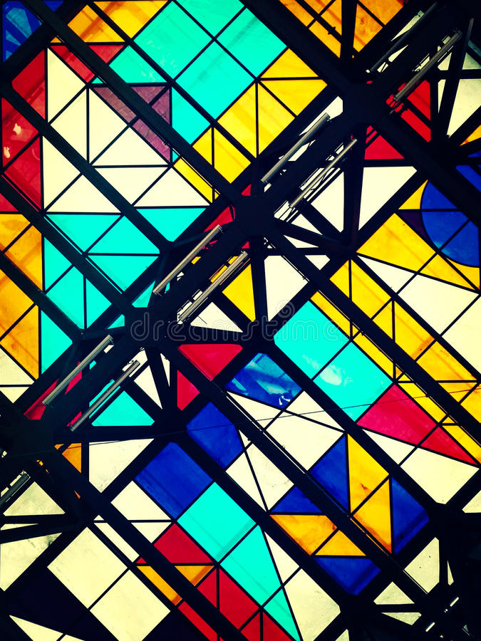Color photo of glass ceiling with geometric shapes royalty free stock image