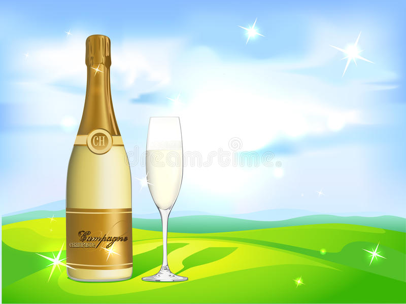 Glass of champagne and bottle on natural background royalty free illustration