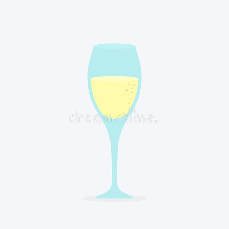 Glass of champagne classical luxury alcohol drink in elite glassware, fizzy expensive winery refreshing beverage with bubbles royalty free illustration