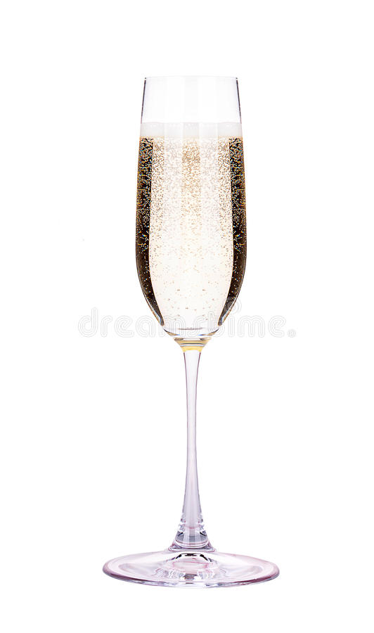 Glass of champagne isolated stock photography