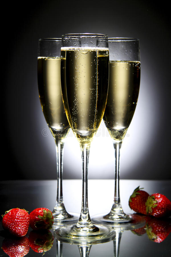 Download Glass Of Champagne With Strawberry Stock Photo - Image: 14046476