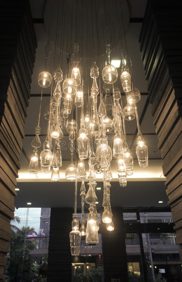 Download Glass Chandelier stock photo. Image of lobby, electronic - 25859848