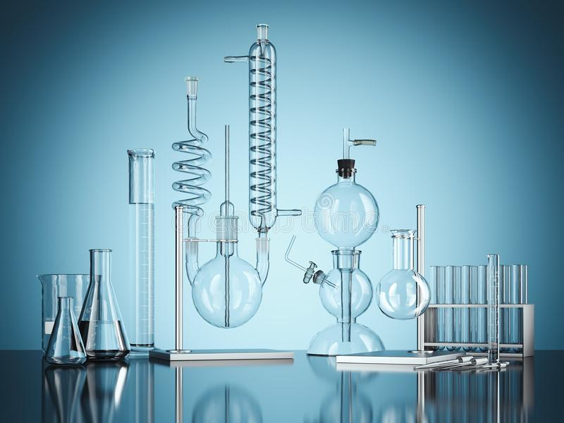 Glass chemistry lab equipment on blue background. 3d rendering. Glass chemistry lab equipment on blue background. Chemistry Lab concept. 3d rendering stock illustration