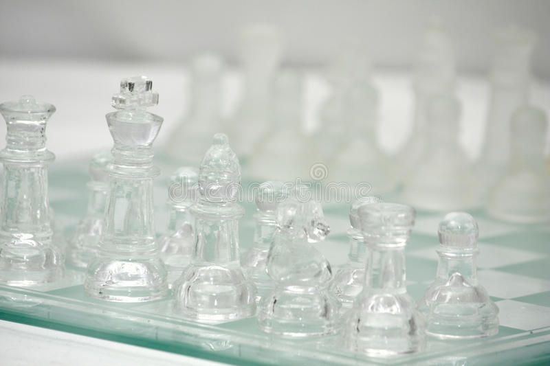 Glass Chess board with Clear and Frosted Pieces