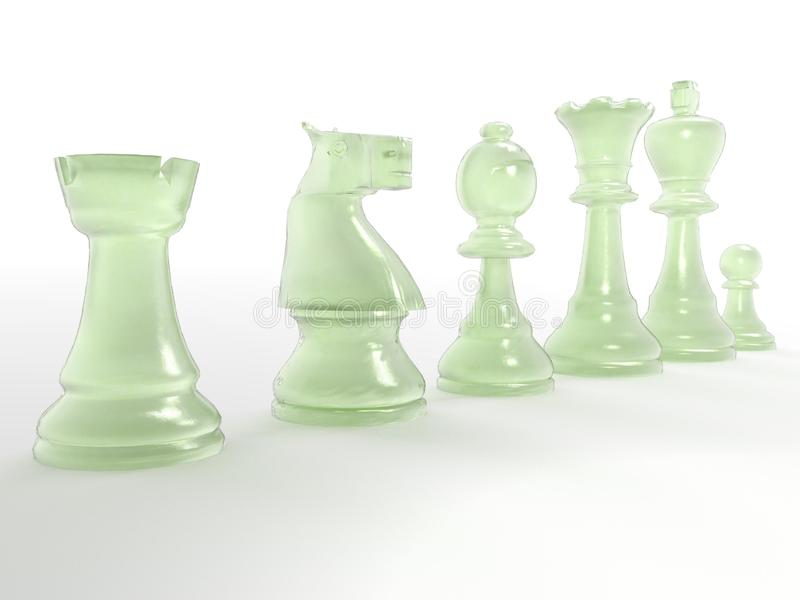 Glass chess pieces. A 3D illustration of glass chess pieces royalty free stock photography