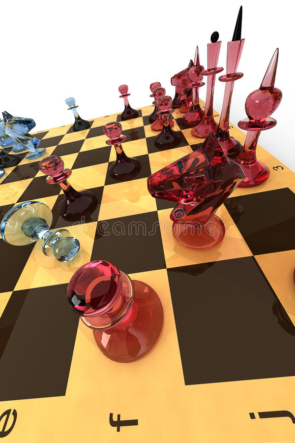 Glass Chess Set Royalty Free Stock Photo