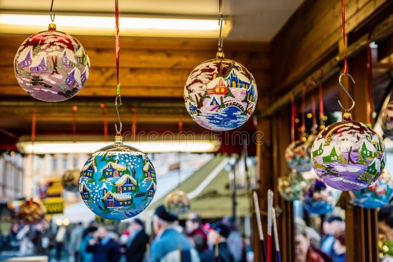 Glass Christmas balls, Prague, Czech Republic stock images