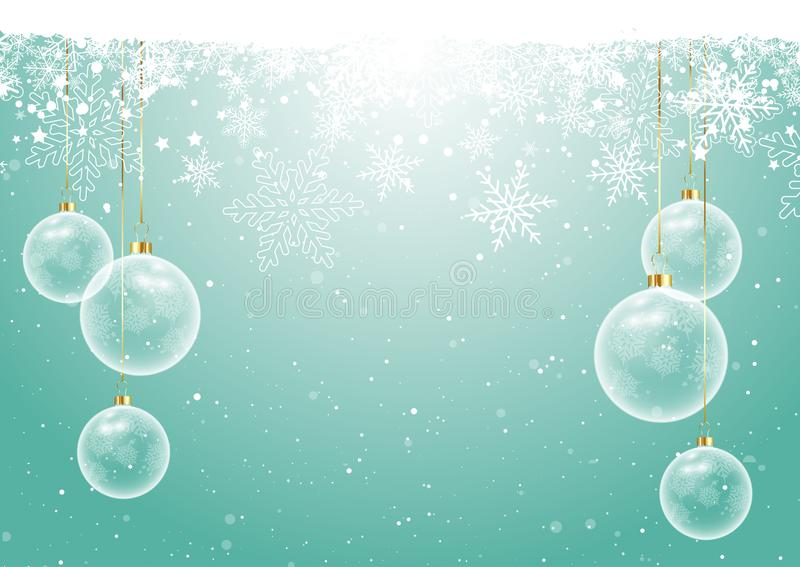 Christmas baubles on snowflake background stock illustration