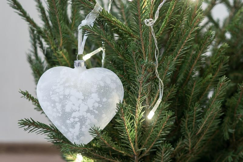 Glass Christmas toy in the shape of a heart hangs on a Christmas tree. A symbol of fragility of love. Glass Christmas toy in the shape of a heart hangs on a royalty free stock photo