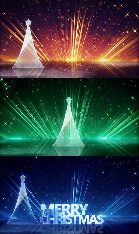Free Glass Christmas Tree And Light Rays Stock Photography - 62071332