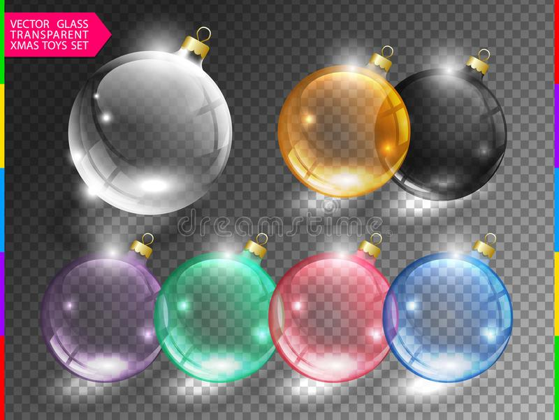 Glass christmas tree ball toy set on transparent background. Different color glossy christmas globe icon. Vector clip art stock illustration