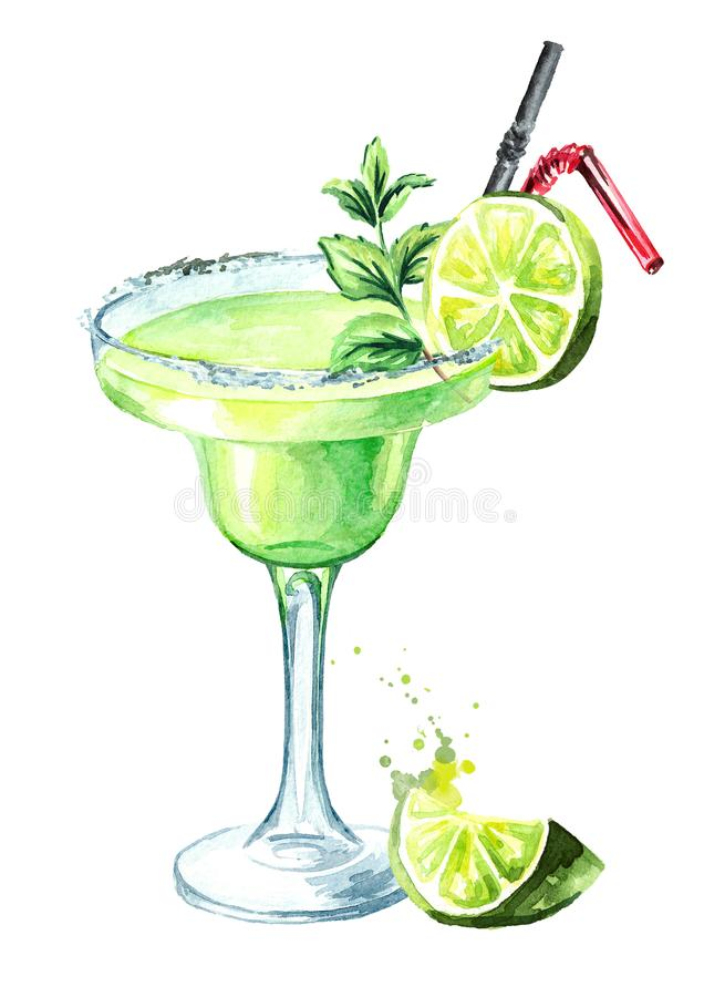 Glass of Classics Margarita cocktail with lime, mint, ice and salt. Watercolor hand drawn illustration, isolated on white. Background royalty free illustration