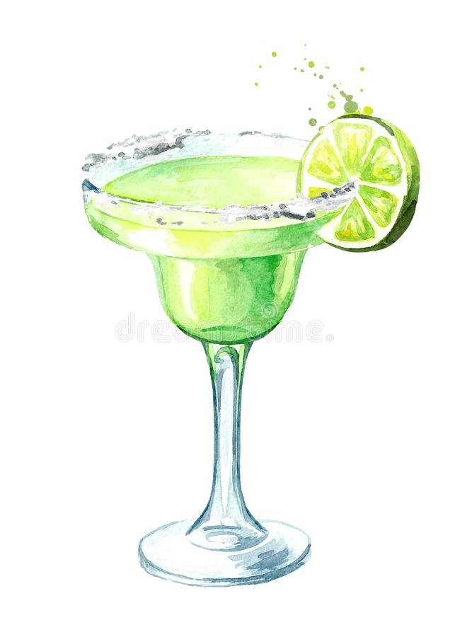 Glass of Classics Margarita cocktail with lime and salt. Watercolor hand drawn illustration, isolated on white background.  stock illustration