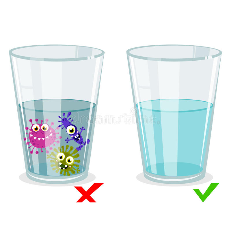 Glass with clean and dirty water, infection illustration stock illustration