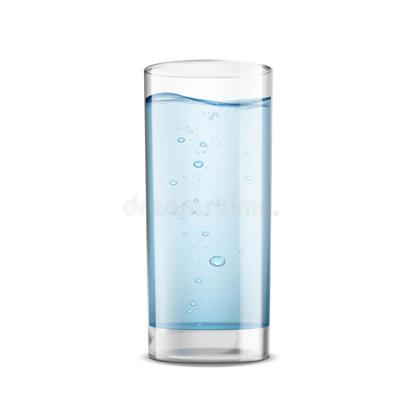 Glass of clean water isolated on white background. Stock. Illustration royalty free illustration