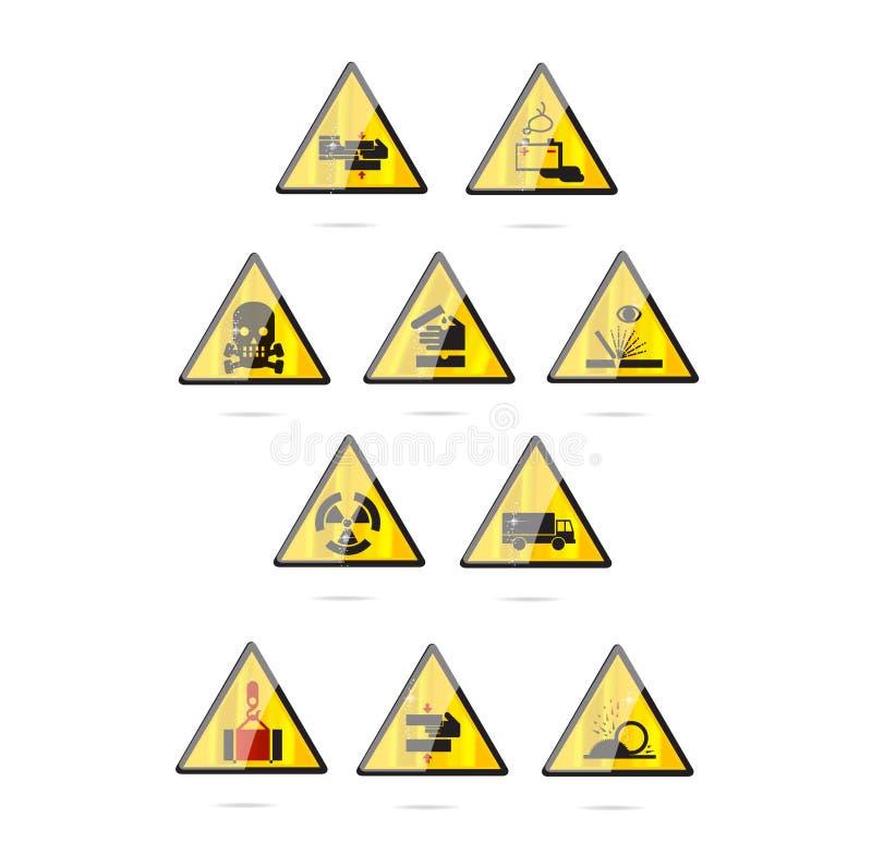 Glass And Clear Danger Symbols Set Stock Illustration Illustration