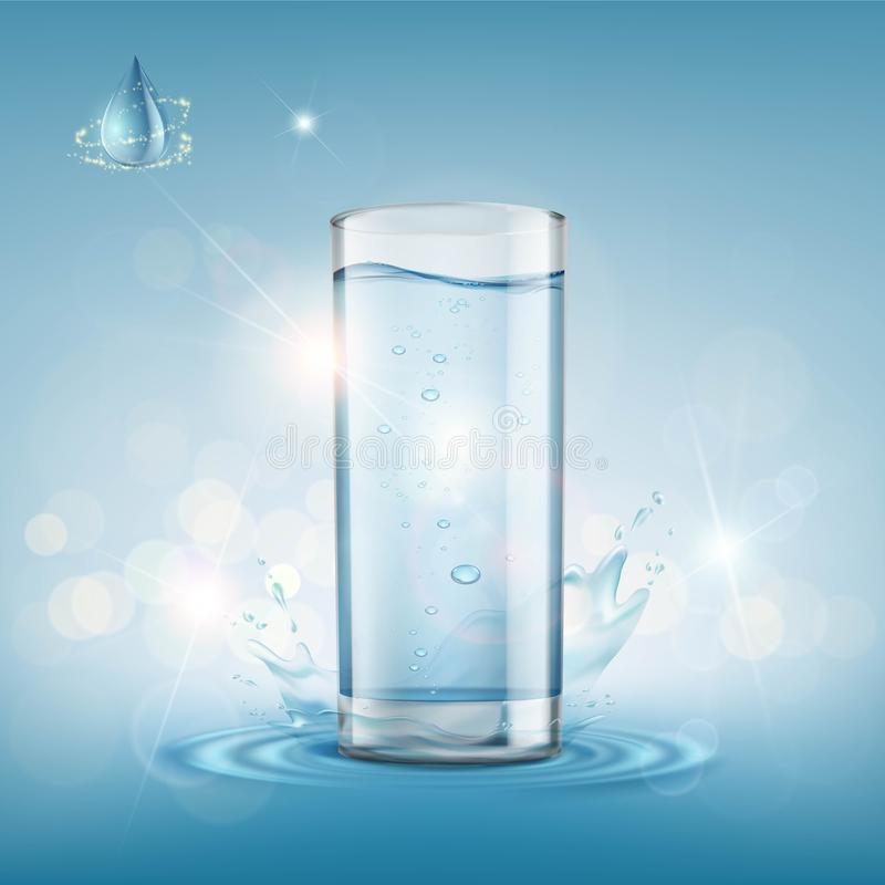 Glass with clear water. stock illustration